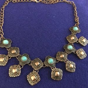 FAUX turquoise choker style necklace copper color